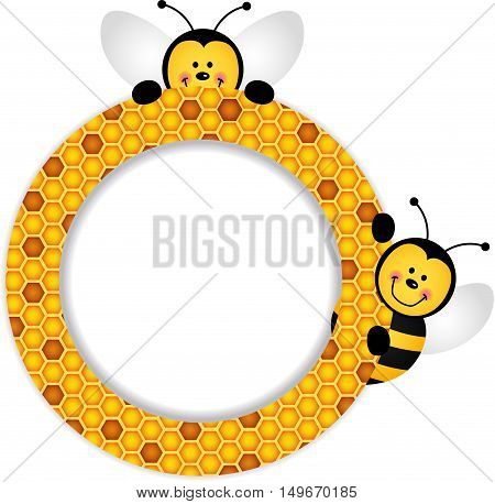 Scalable vectorial image representing a bees honeycomb frame, isolated on white. EPS10.