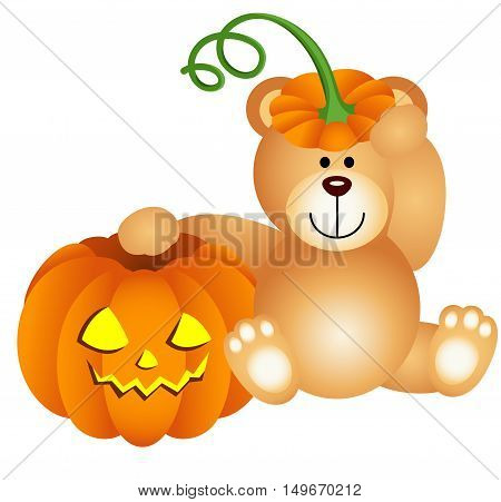 Scalable vectorial image representing a teddy bear with halloween pumpkin, isolated on white.