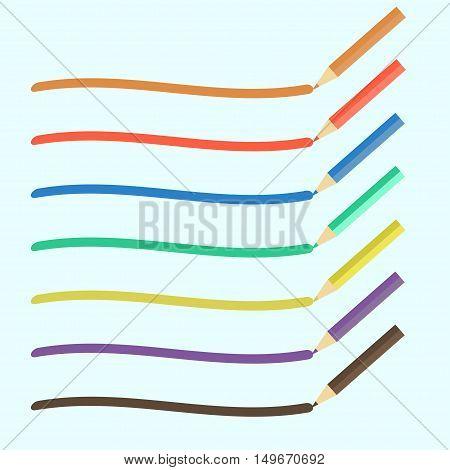 Colored pencils bright colorful set. Vector illustration