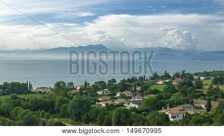 Aerial view on the small Italian village on the coast of lake Garda