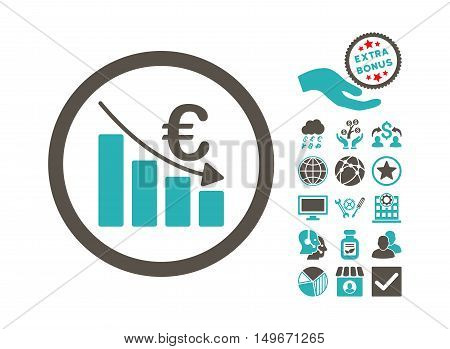 Euro Recession icon with bonus design elements. Vector illustration style is flat iconic bicolor symbols grey and cyan colors white background.