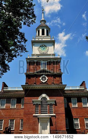 Philadelphia Pennsylvania -June 25 2013: The south facade of 1732-1753 Indepedence Hall the original Pennsylvania State House with clock tower and cupola
