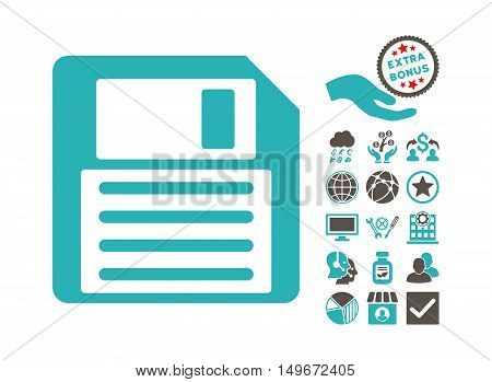 Floppy icon with bonus clip art. Vector illustration style is flat iconic bicolor symbols, grey and cyan colors, white background.