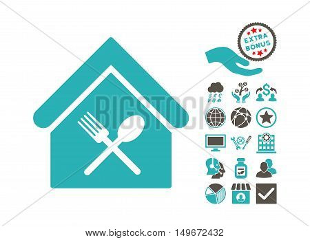 Food Court pictograph with bonus images. Vector illustration style is flat iconic bicolor symbols, grey and cyan colors, white background.