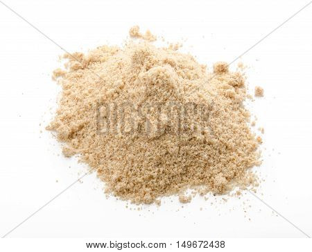 Almond flour pile top view isolated on white background
