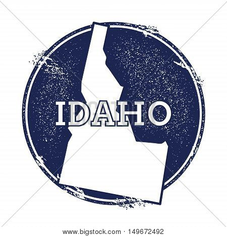 Idaho Vector Map. Grunge Rubber Stamp With The Name And Map Of Idaho, Vector Illustration. Can Be Us