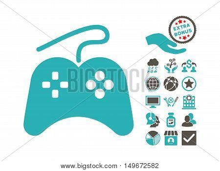 Gamepad icon with bonus elements. Vector illustration style is flat iconic bicolor symbols, grey and cyan colors, white background.