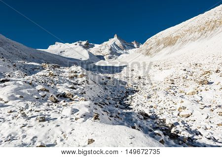 Snow covered mountain panorama. Thorong La pass at 5416m in Nepal.