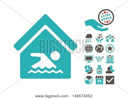 Indoor Water Pool pictograph with bonus symbols. Vector illustration style is flat iconic bicolor symbols, grey and cyan colors, white background.
