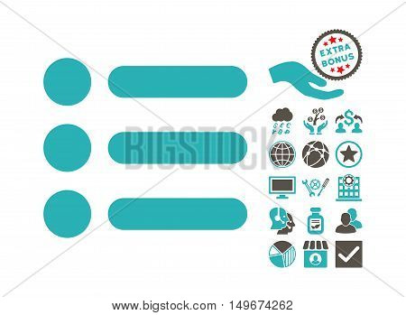 Items icon with bonus images. Vector illustration style is flat iconic bicolor symbols, grey and cyan colors, white background.