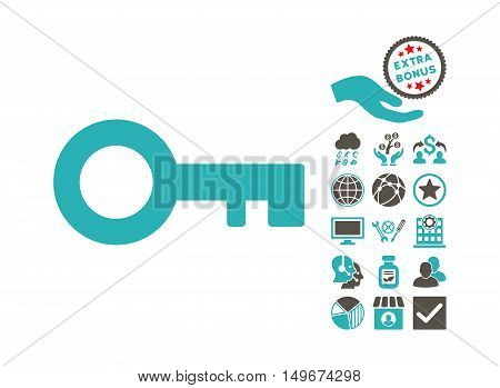 Key pictograph with bonus clip art. Vector illustration style is flat iconic bicolor symbols, grey and cyan colors, white background.