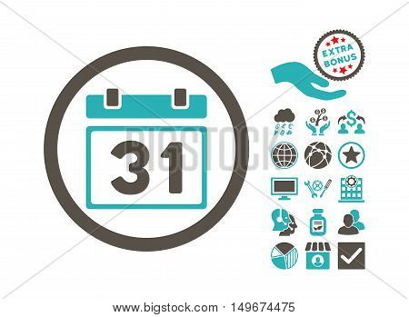 Last Month Day pictograph with bonus clip art. Vector illustration style is flat iconic bicolor symbols, grey and cyan colors, white background.