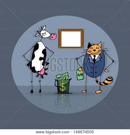 Business deal cat and cow, vector sketch illustration