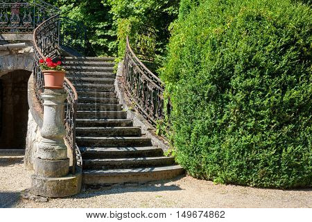 An Old stone stairway of a castle