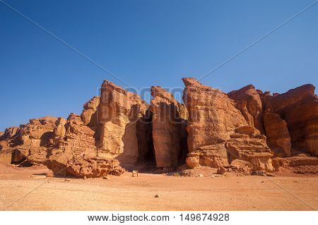 The Solomons Pillars geological and historical place in Timna Park Israel.