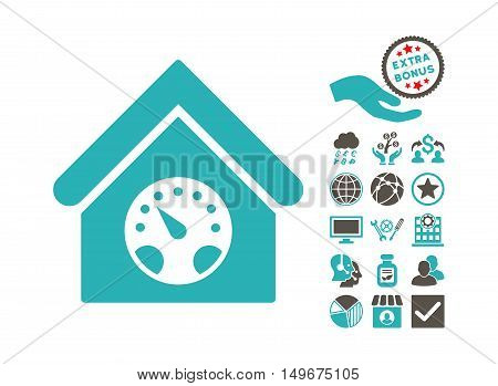 Meter Building icon with bonus clip art. Vector illustration style is flat iconic bicolor symbols grey and cyan colors white background.