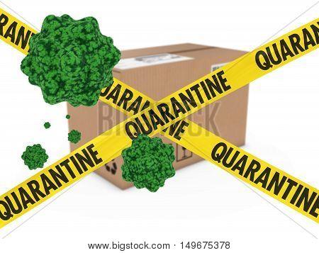 Virus Infected Package behind Quarantine Tape 3D Illustration