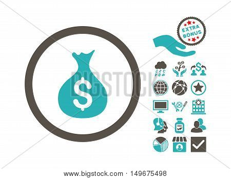 Money Sack pictograph with bonus clip art. Vector illustration style is flat iconic bicolor symbols grey and cyan colors white background.