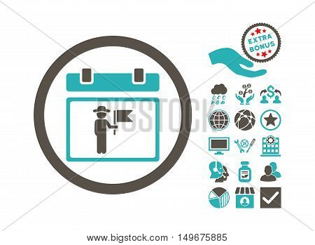National Holiday Day icon with bonus icon set. Vector illustration style is flat iconic bicolor symbols, grey and cyan colors, white background.
