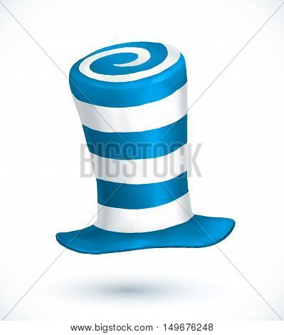 Blue and white colors striped realistic vector crazy carnival hat
