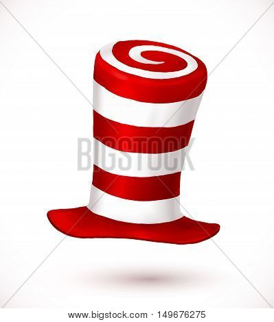 Red and white colors stripes realistic vector crazy carnival hat