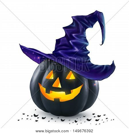 Black Halloween vector pumpkin with orange light inside wearing in dark blue witchs hat