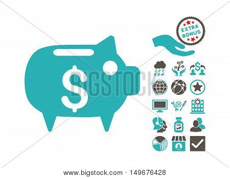 Piggy Bank pictograph with bonus pictures. Vector illustration style is flat iconic bicolor symbols, grey and cyan colors, white background.