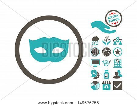 Privacy Mask pictograph with bonus images. Vector illustration style is flat iconic bicolor symbols, grey and cyan colors, white background.
