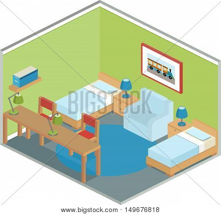 Modern bedroom design with furniture including two beds. Interior in isometric style. Vector 3D illustration.
