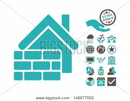 Realty Brick Wall pictograph with bonus design elements. Vector illustration style is flat iconic bicolor symbols, grey and cyan colors, white background.