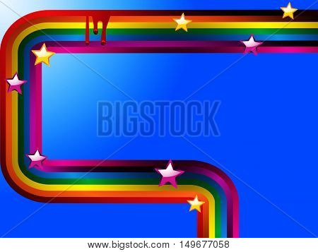 Bright Curved Rainbow with Stars and Red 3D Drops Over Intense Blue Background