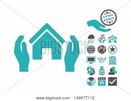 Realty Insurance Hands icon with bonus icon set. Vector illustration style is flat iconic bicolor symbols, grey and cyan colors, white background.