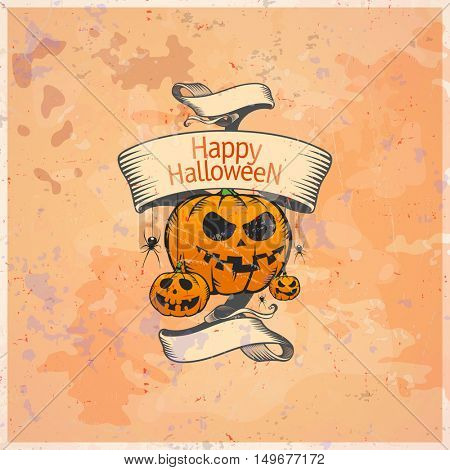 Halloween card with pumpkins and retro ribbon, rasterized version