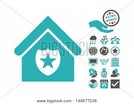 Realty Protection pictograph with bonus design elements. Vector illustration style is flat iconic bicolor symbols, grey and cyan colors, white background.