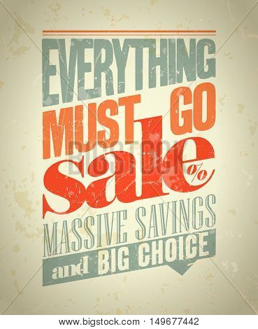Everything must go sale design in retro style, rasterized version