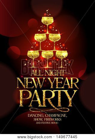 All night New Year party poster with golden headline and golden stack of champagne glasses, in form of spruce decorated sparkling stars, rasterized version