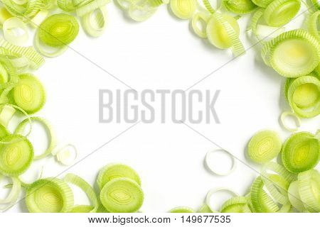 Fresh Leeks Frame isolated in white background