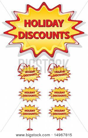Set Of Red And Yellow Sale Icons Isolated On White - Holiday Discounts