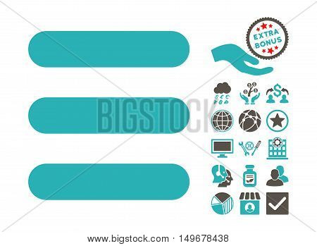 Stack icon with bonus pictogram. Vector illustration style is flat iconic bicolor symbols, grey and cyan colors, white background.