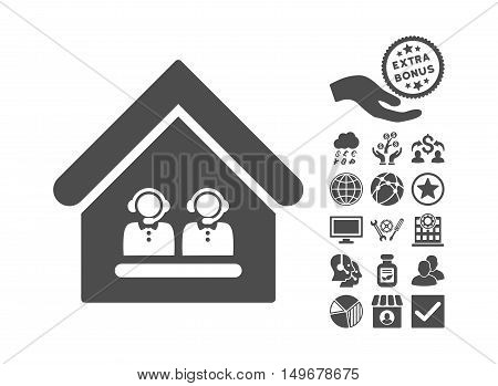 Call Center Office pictograph with bonus pictograph collection. Vector illustration style is flat iconic symbols gray color white background.