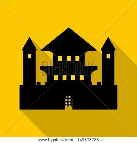 Ancient palace icon in flat style with long shadow. Structure symbol vector illustration