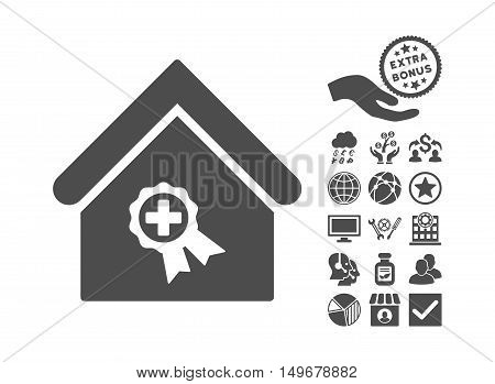 Certified Clinic Building pictograph with bonus elements. Vector illustration style is flat iconic symbols gray color white background.