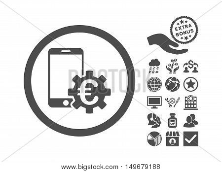 Configure Mobile Euro Bank pictograph with bonus pictograph collection. Vector illustration style is flat iconic symbols gray color white background.