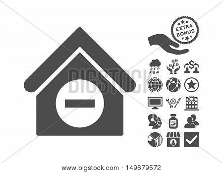 Deduct Building pictograph with bonus clip art. Vector illustration style is flat iconic symbols gray color white background.