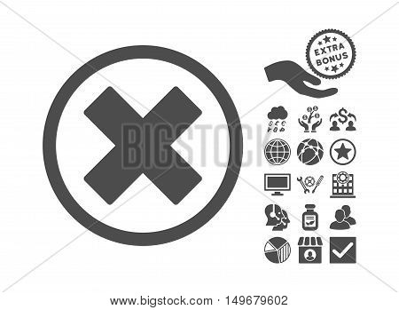 Delete X-Cross icon with bonus symbols. Vector illustration style is flat iconic symbols gray color white background.