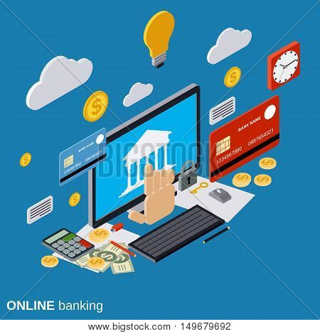 Online banking, payment, money transfer, financial transaction flat isometric vector concept illustration