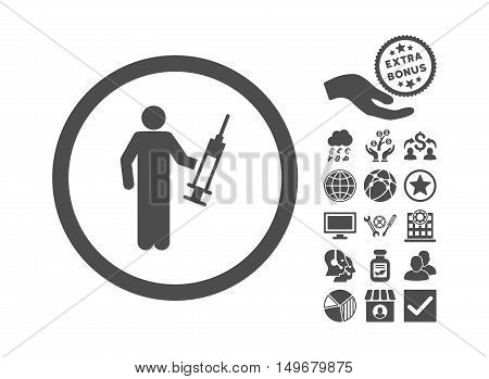 Drug Dealer pictograph with bonus pictograph collection. Vector illustration style is flat iconic symbols, gray color, white background.