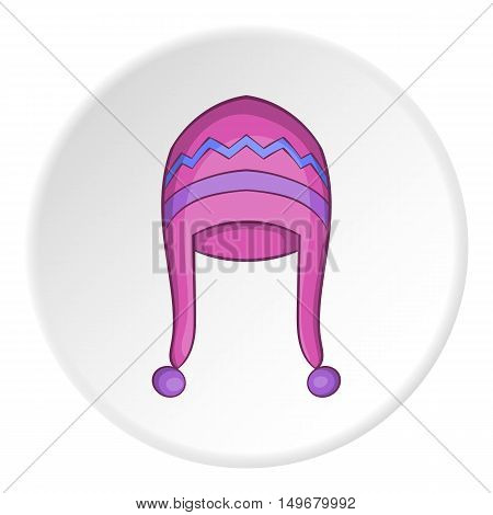 Hat with pompom icon in cartoon style on white circle background. Accessory symbol vector illustration