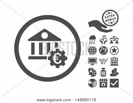 Euro Bank Settings icon with bonus pictures. Vector illustration style is flat iconic symbols, gray color, white background.