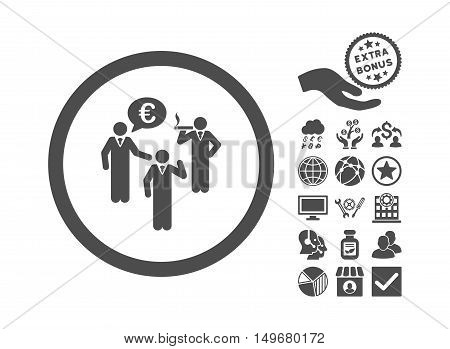 Euro Discuss Persons pictograph with bonus icon set. Vector illustration style is flat iconic symbols, gray color, white background.